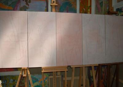 Five canvas 100 cm X 50 cm