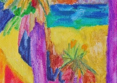 Roches Brunes V Huile sur toile 40 cm x 20 cm