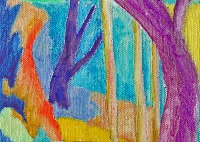 Roches Brunes XI Huile sur toile 40 cm x 20 cm