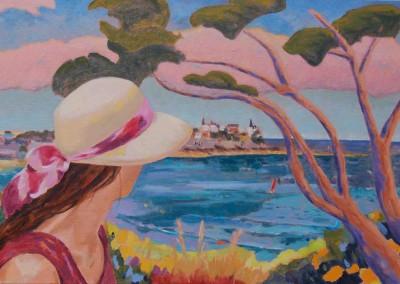 Jeune femme au chapeau/Huile sur Toile/Dimensions 92 cm x 60 cm