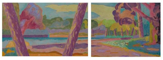 Lac de la Porte Jaune /Diptyque/Huile sur toile /Dimensions : 208 cm X 73 cm