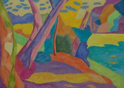 Landscape near Paris / Huile sur toile / Dimensions 92 cm x 73 cm