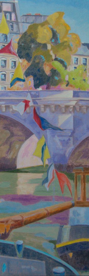 Péniche aux drapeaux/huile sur toile/Dimensions 150 cm x 50 cm