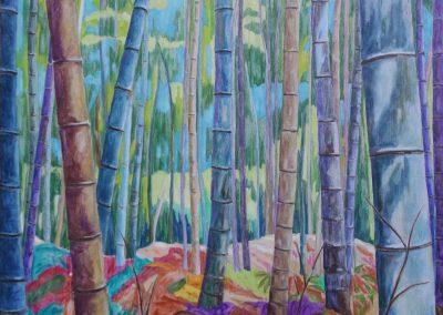 Bamboos II Huile sur toile 100 cm x 100 cm