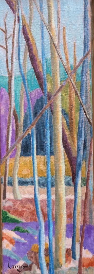 Forest XVI Huile sur toile 54 cm x 18 cm