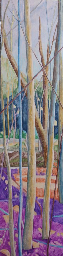 Forest XVIII Huile sur toile 160 cm x 40 cm