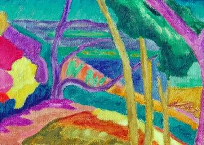 Roches Brunes IV Huile sur toile 20 cm x 40 cm
