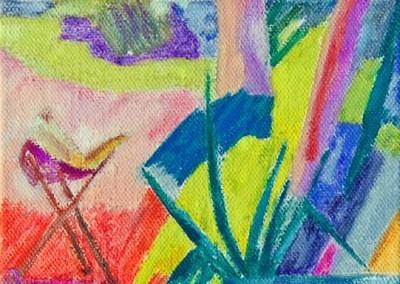 Roches Brunes XII Huile sur toile 40 cm x 20 cm
