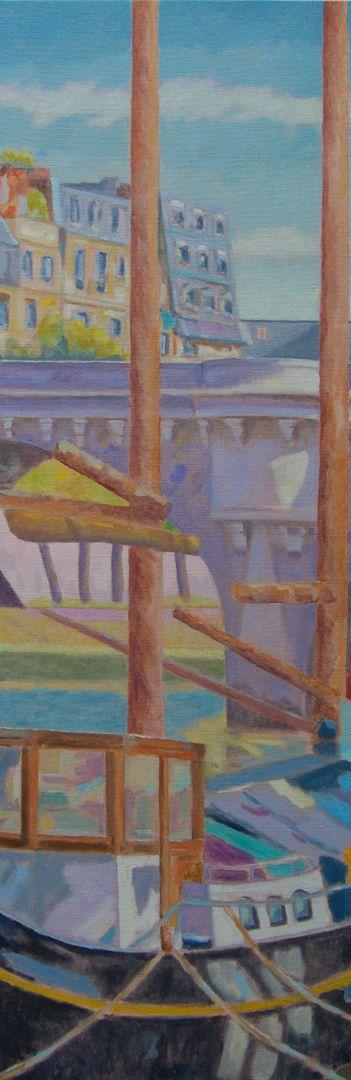 Péniche aux mats/Huile sur toile/Dimensions 150 cm x 50 cm