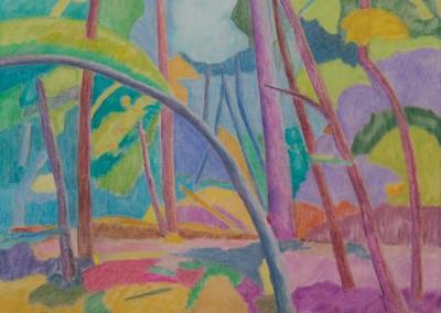 Sous-bois I/Huile sur toile/Dimensions 73 cm x 92 cm